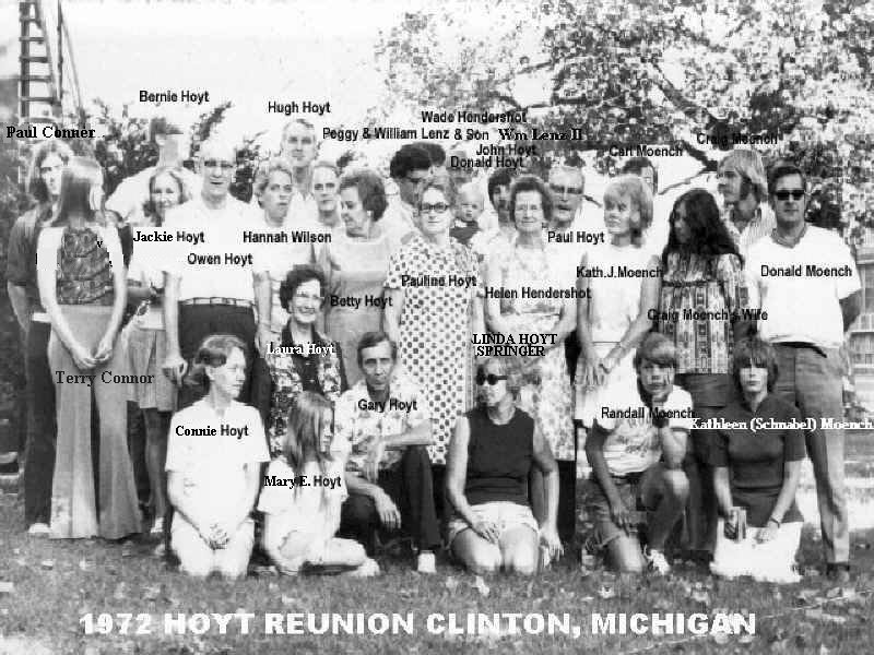 1972 HUGH P HOYT FAMILIES RE-UNION Clinton, MI