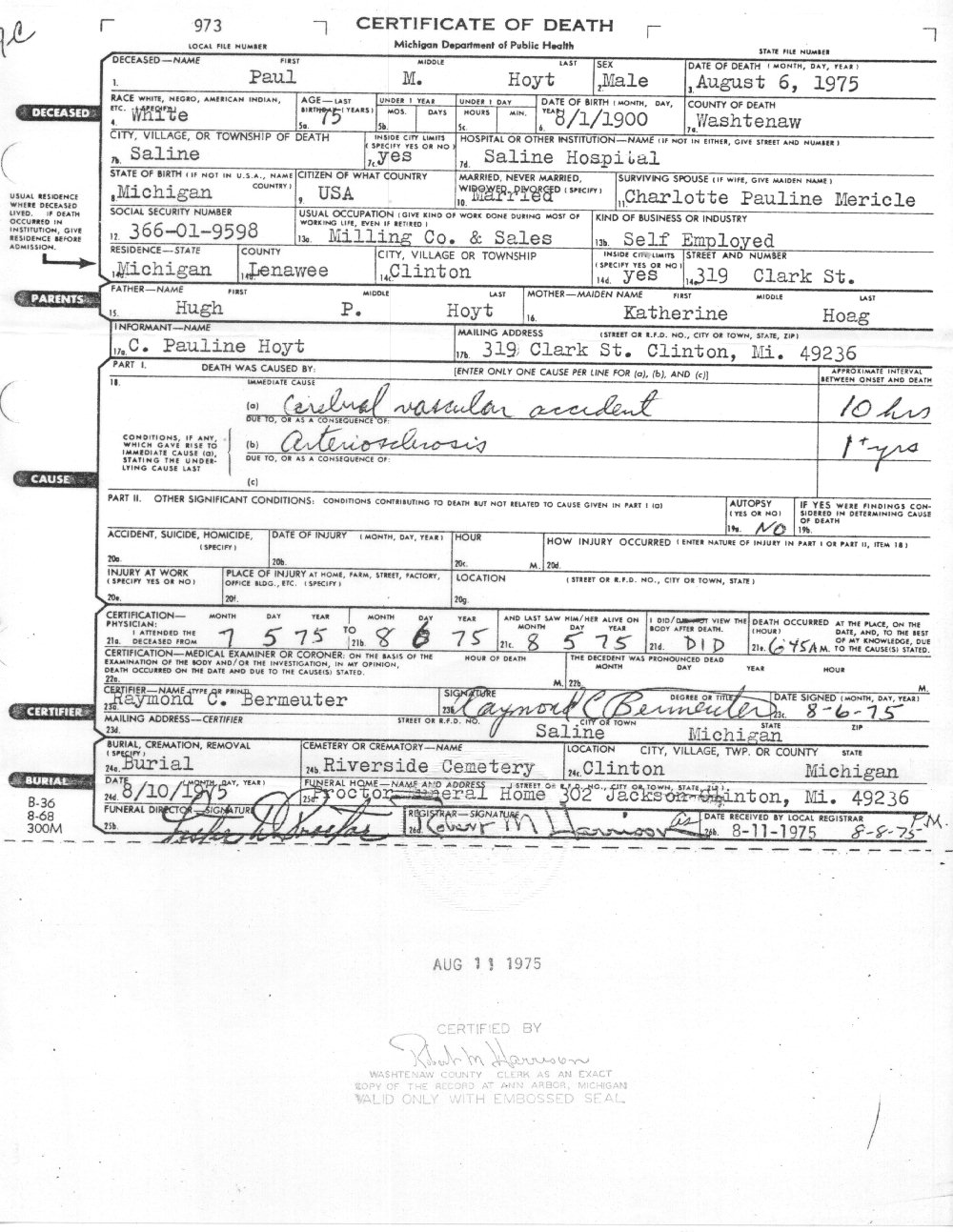 Paul M Hoyt's Death Certificate 1975