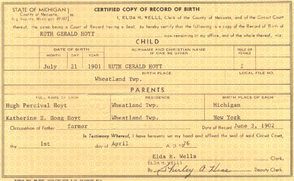 Ruth Gerould Hoyt's - Birth Certificate July 12, 1901
